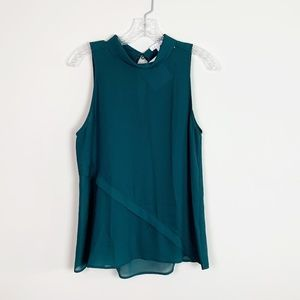 Leith | sleeveless layered blouse forest green S